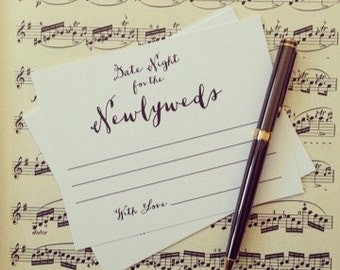 Date Night cards for the Newlyweds, Wedding Advice cards, Advice for the Bride and Groom, Advice for the Newlyweds, Date Night cards