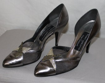 Vintage Stuart Weitzman for Martinique Shoes, Pewter and Silver, Made in Spain