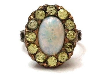 Victorian Ring, Opal & Citrine Paste Rhinestone Ring, Gold Filled Ring, Antique Costume Jewelry Ring, Glass Stone Ring, Victorian Jewelry