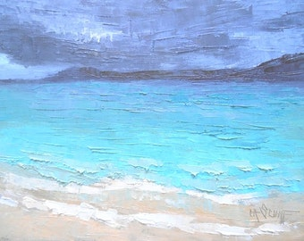 "Seascape Daily Painting, Caribbean Island Seascape, Small Oil Painting, ""Island TIme"" 6x8"" Oil"