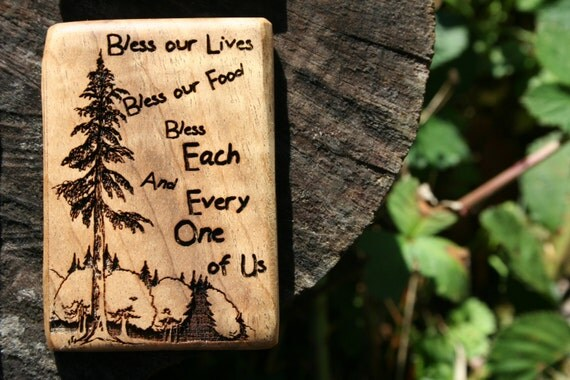 Refrigerator Magnet- Blessing Magnet- Wooden Refrigerator Magnet In Juniper Wood or Oregon Myrtlewood