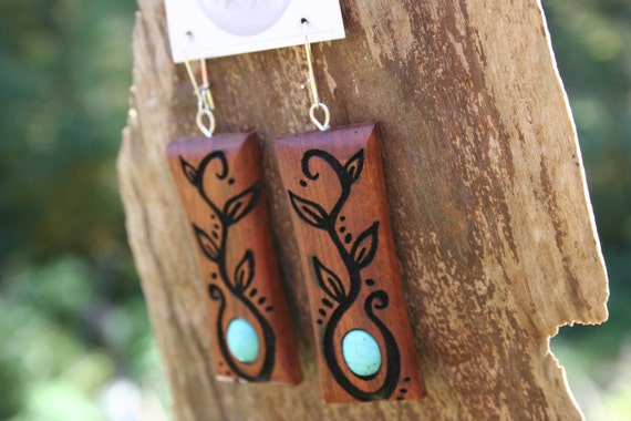 Wood & Turquoise Earrings- Vines and Turquoise- In Reclaimed Mahogany Wood (MOD 25)- Wood Jewelry, Eco Fashion, Boho Jewelry