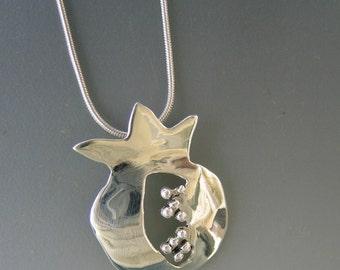 Contemporary Sterling Silver Pomegranate Pendant on Chain