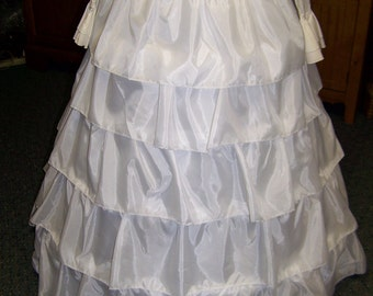 "Ruffled Petticoat-4 Bone Hoop, WHITE Nylon, ajustable 90"" - 111"" circle hem length is 36 - 41"" long Steel Boning"