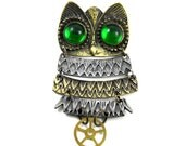Steampunk Brooch - Mr. Wind-Up - Segmented Owl Brooch with Vintage Brass Pocket Watch Gear