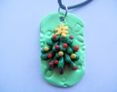 Cute Christmas Tree - Handmade Polymer Clay Dog Tag Style Necklace