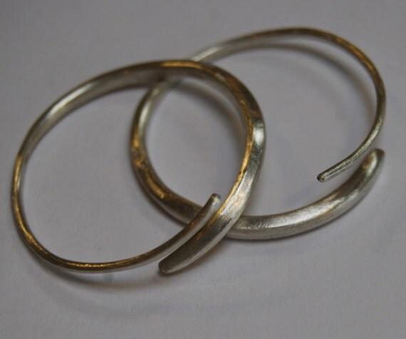 Sterling Hoop Earrings Forged continuous hoop tapered solid 16 gauge