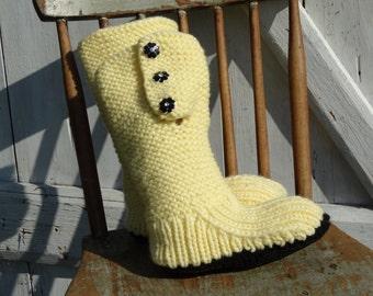 Mukluk style ugg inspired slipper boot hand knit pale yellow