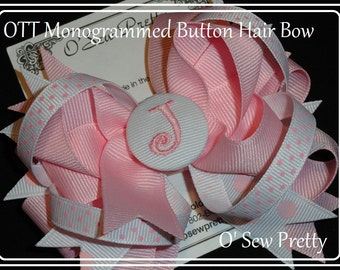 Over the top monogrammed button hair bow with childs initial,Monogrammed hair bows,Personalized Hair bows,Girls Hair Accessories,hair bows
