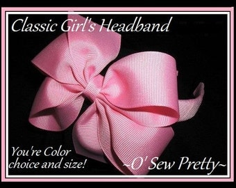 CLASSIC HEADBAND with a Hair bow for GIRLS,headbands with bows,Back to school headbands,ribbon wrapped headbands,made to match bows