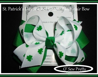 St. Patrick's Day Hair Bows,Irish Hair Bows, Shamrock Hair Bows