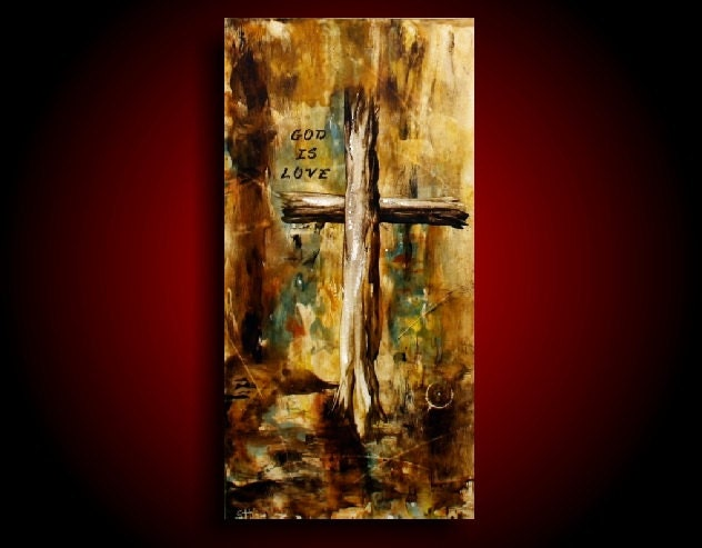 Abstract cross painting on canvas religious art christian art for Cross paintings on canvas