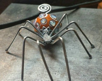 Sterling Silver and Artisan Lampwork SPIDER Necklace - Unique Creepy Crawlie -Earthly Jewels - Handmade