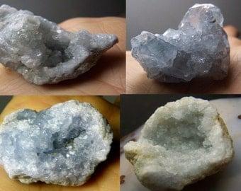 Celestite - 1 Celestite Crystal cluster - geode natural blue crystal gem mineral specimen - druzy lapidary supply Celestine celestialite ZY5