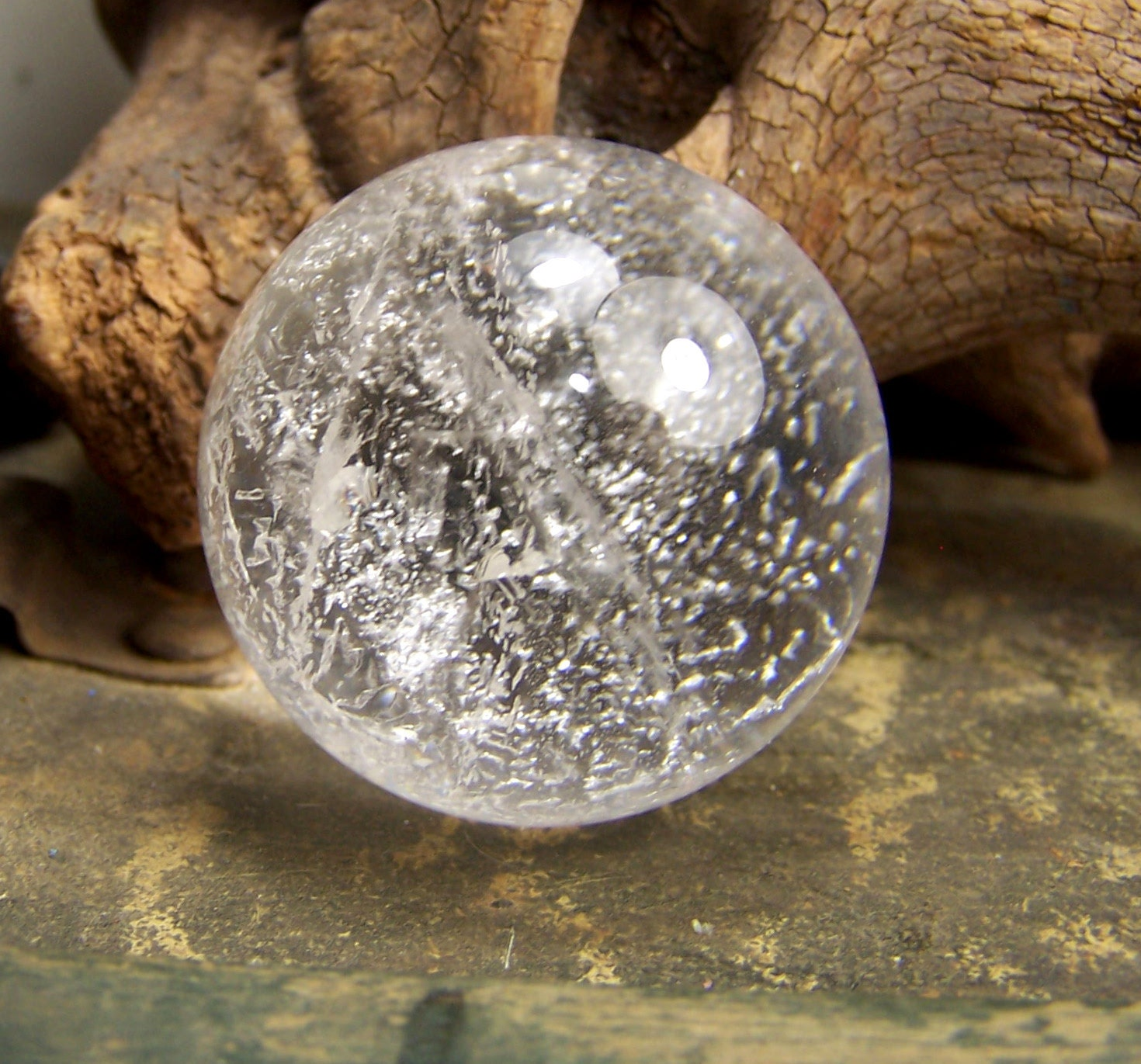 Clear Quartz crystal sphere 1 1/2 inch round naturalQuartz Crystal Sphere