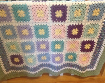 Wild Flowers Granny Square Afghan FREE SHIPPING
