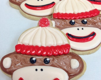 SOCK MONKEY COOKIES, 12 Decorated Sugar Cookie Party Favors