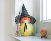 Halloween Witch Doll, Needle Felted Waldorf Gnome, Yellow Felt Fall Toy