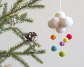 Cloud Christmas Ornament, Rainbow Rain Cloud Raincloud Decoration, All Natural, Eco Friendly
