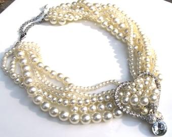 Marie Antoinette Torsade Treasures of Pearls and Rhinestones Handmade Necklace and earrings