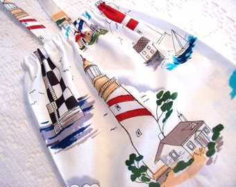 Plastic Bag Holder - Grocery Bag Dispenser - Bag Holder - Ocean Lighthouses - Extra Large 26 Inches Long