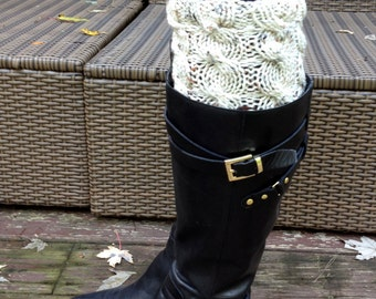 Hand Knitted Boot Cuffs - Chocolate brown and aran flecks - Boot Tops - Christmas Xmas Gift - Ready To Ship