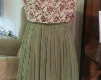 Vintage Brocade Chiffon dress green floral clothing party