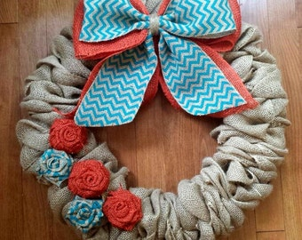 "Burlap Wreath, Front Door Wreath, Burlap Wreath with Flowers, Turquoise Chevron, Orange Flowers, 22"", MADE TO ORDER"