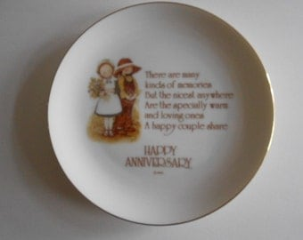 """Vintage 1976 Holly Hobbie Anniversary Plate Happy Anniversary Porcelain Plate Vintage Plate Home Decor 6"""" Plate WWA Collectible Plate"""