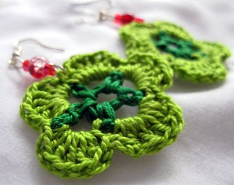 Crochet Earrings, Beaded Lime Green Wheel Flower Dangles