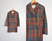 SALE / vintage '60s PLAID double-breasted wool PEACOAT. size s.