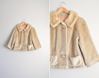vintage '50s RUSSEL TAYLOR tan CROPPED fur coat. faux fur body / fox fur collar. size s m.