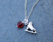 Love to Skate Necklace - sterling silver ice skate charm & red glass heart on sterling chain  - free shipping USA
