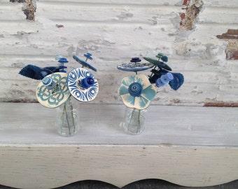blue, light blue button flower bottle bouquet