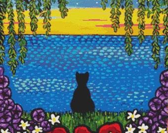 Cat Cross Stitch Kits by Shelagh Duffett Black cat- Cat Needlecraft Alice in Paris