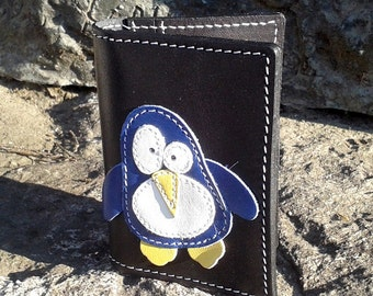 Blue Penguin Credit Card Wallet For 4 Credit Cards Black Color - FREE Shipping Worldwide - Leather Credit Card Holder - Minimalistic Wallet