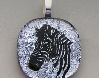 Silver Zebra Pendant Dichroic fused glass jewelry w/ cord