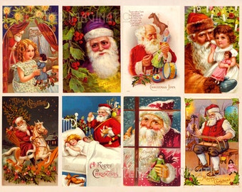Vintage Santa digital collage sheet 1 from classic Christmas card designs, ATC/ACEO size, instant download