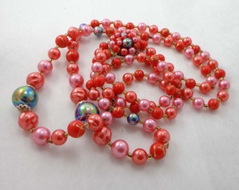 Vintage Signed Japan Necklace Double Strand Beads 2 Beaded Pink Pearls Red Iridescent 50s Mad Men 451