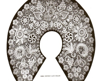 Instant download pdf-Vintage irish crochet collar and motifs lace pattern-brides, weddings etc