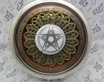 Compact Mirror with Pentagram On Brown Comes With Protective Pouch