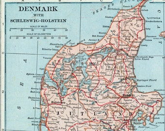 1924 Vintage Map of Denmark with Schleswig-Holstein. With Insets of Iceland and Faroe Islands