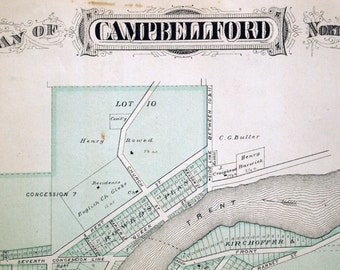 1878 Large Rare Vintage Map of Campbellford, Northumberland County, Ontario - Handcolored