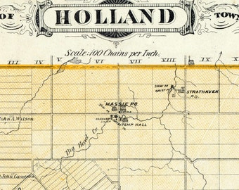 1880 Antique Map of Holland Township, Grey County, Ontario
