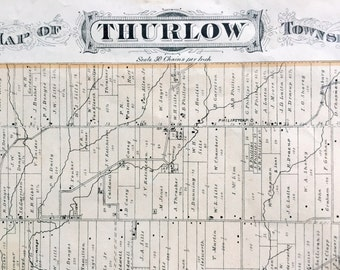 1878 Antique Map of Thurlow Township, Ontario, Canada - Large hand-coloured map