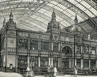 1894 Back-to-Back German Antique Engraving of Train Station Designs in Germany