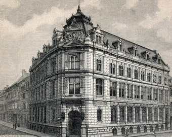 1894 Back-to-back German Engraving of Bank Buildings