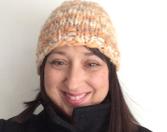 Woman's Knit Hat Handspun Beanie Striped Cloche Peach Off White Cap OOAK