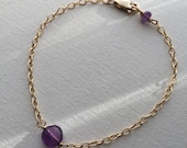 Amethyst and gold filled cable chain bracelet