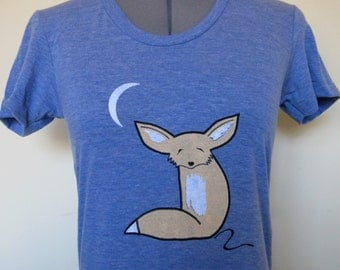 Fennec Fox T Shirt Women Blue Sizes Small through XLarge